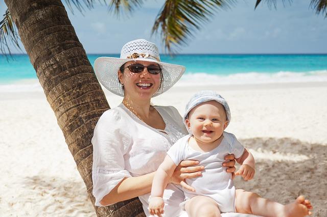 palma, moře, pláž, žena, dítě