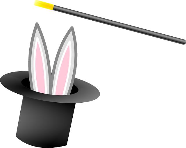 Kouzelnický klobouk s králíkem a hůlkou